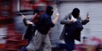 Three men wearing masks,and holding guns while running(blurred motion) - Politika09.Com
